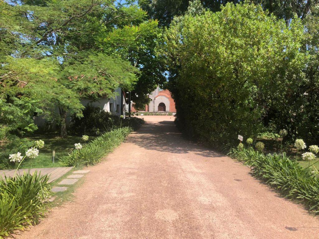 Caminho para entrada Bodega Bouza - Vinicola em Montevideu